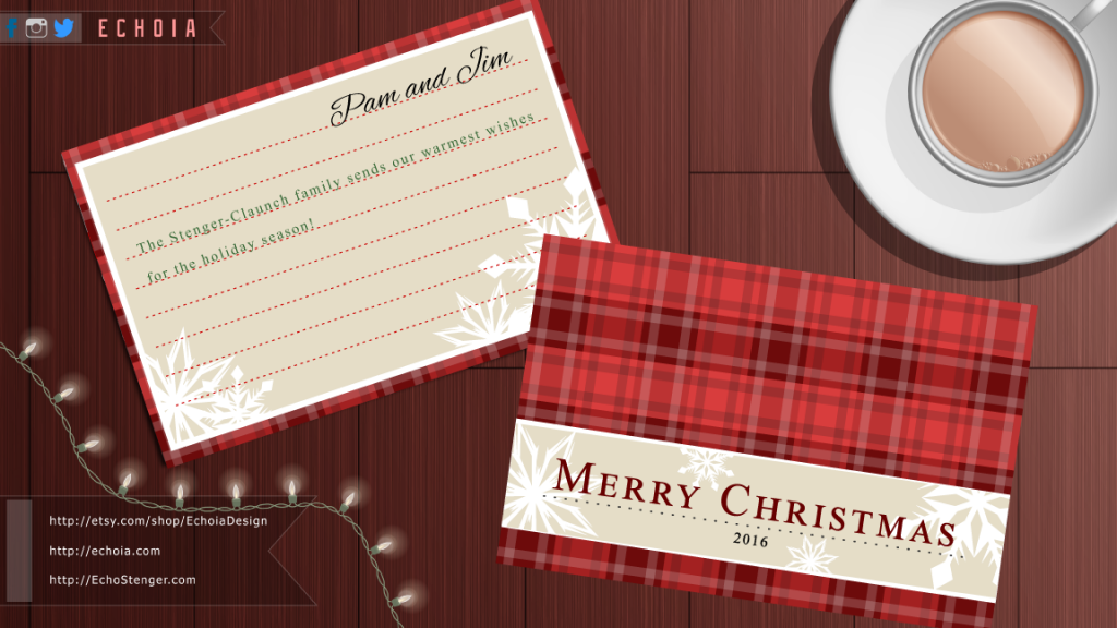 Red Snowflakes Plaid Christmas Card