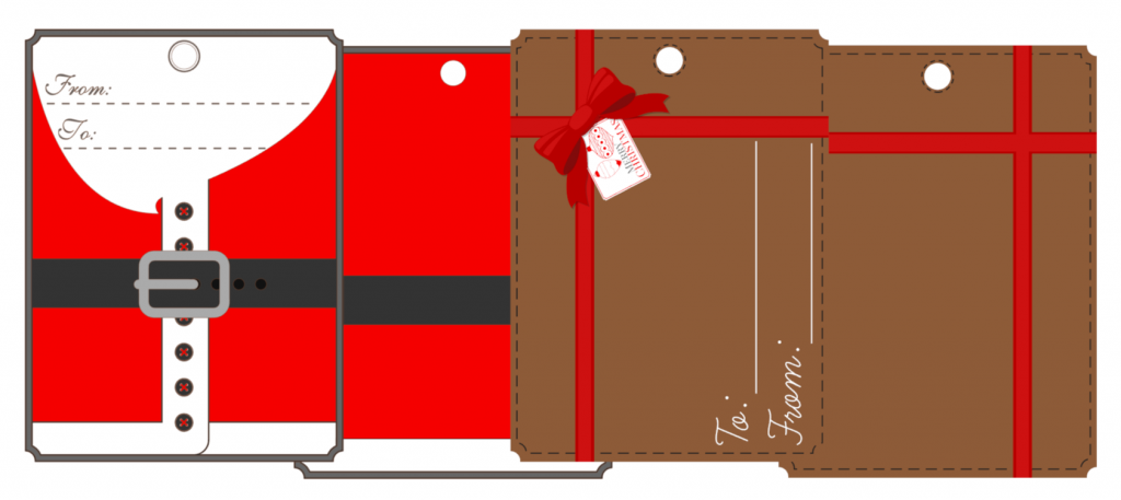 Santa Suit and Gift Gift Tags for Silhouette Cameo