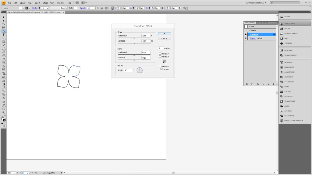 Design a Flower Cutout in Adobe Illustrator to Use With Your Silhouette Machine Step2c