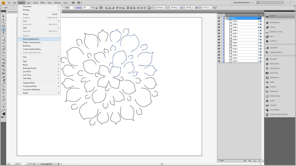 Design a Flower Cutout in Adobe Illustrator to Use With Your Silhouette Machine Step4
