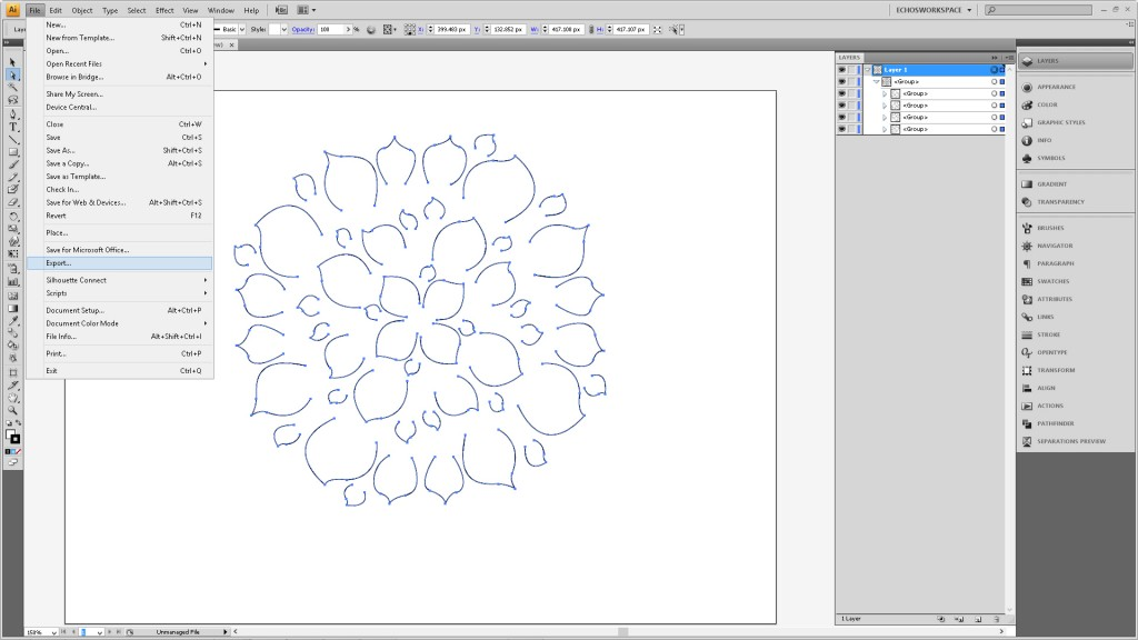 Design a Flower Cutout in Adobe Illustrator to Use With Your Silhouette Machine Step5